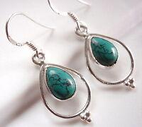 Turquoise Earrings 925 Sterling Silver Teardrop Hoop Dangle Drop Dot Accents New