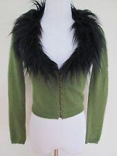 Aut Betsey Johnson Vintage Green Angora Black Faux Fur Collar Cardigan Sweater S