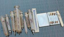 lot ancienne seringue en verre et métal et aiguilles  médecine science