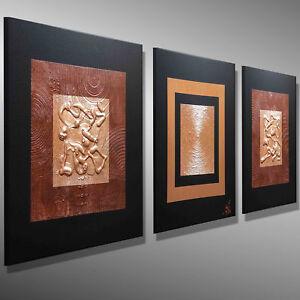 moderne abstrakte bilder KUNST ORIGINAL Gemälde malerei kupfer MICO Struktur