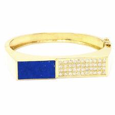 NYJEWEL 14k Yellow Gold Lapis Lazuli 1.32ct Diamond Heavy Bangle Bracelet 40.1g