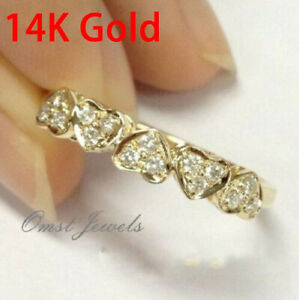 14K Solid Yellow Gold White Sapphire Ring Wedding Women Men's Jewelry Size 6