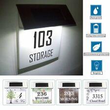 Personalisiert Rostfreier Solar 4 LED Licht Lampen Hausnummer Plaque Straßenname