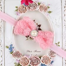Babys Girls Kid Pearl Headband Rose Bow Lace Flower Elastic Hairband Lovely Hot