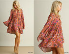 Umgee BOHO Rust Floral Bell Sleeve Keyhole Trapeze Swing Hippie Dress Tunic S-L