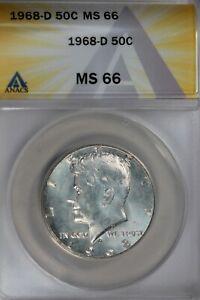 1968-D  .50  ANACS  MS 66  Kennedy Half Dollar, JFK Half, 50C, John Kennedy Half