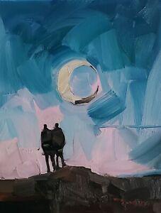 JOSE TRUJILLO Oil Painting IMPRESSIONISM TWO PEOPLE MOON LIGHT SKY NIGHT NR