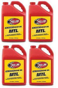 Red Line Oil 50205 Set of 4 Full Synthetic MTL 75W80 GL-4 Gear Oil Jugs, 1 Gal