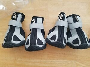 4 New Dog Boots w/Non-Skid Rubber Soles, Strap Closure w/Zipper & Elastic Back.