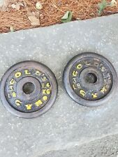Two Vintage Gold's Gym 3lb weight Plates / 6lbs total / for 1 inch bar