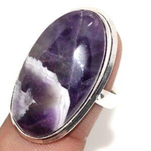 Chevron Amethyst Ethnic Handmade Gemstone Ring Jewelry US Size-8 JW