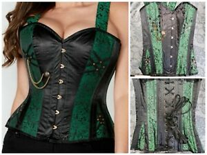 """Corset Story Green Gothic Straps Overbust Corset Size 26"""""""