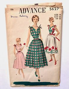 Vintage 1950s ADVANCE Sewing Pattern Sweetheart Neckline Full Skirt UNUSED sz 14