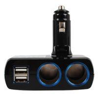 2 Socket Adapter Splitter Dual USB Port Charger DC 12V 24V Car Cigarette Lighter