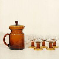 Ensemble pichet et verres vintage ambrés design années 70 space age