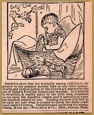 1884  Woolrich Co Baby Food Nipple Death Bottle Mortality Print Ad