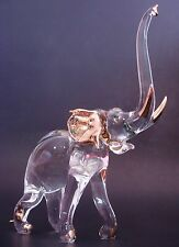 LARGE Glass ELEPHANT African Animal Painted Glass Ornament Curio Glass Figure