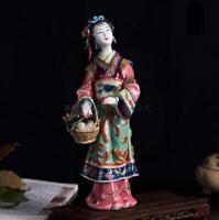 "10.6"" Chinese Handmade Porcelain Beautiful Woman Xi Shi Figurines Statues"