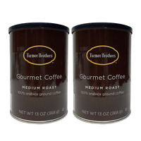 FARMER BROTHERS MEDIUM ROAST GROUND COFFEE 100% ARABICA 13 OZ /2 CANS
