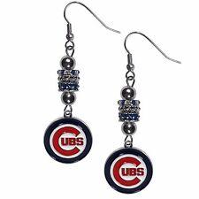 Chicago Cubs Dangle Earrings (Euro Bead) MLB Licensed Baseball Jewelry