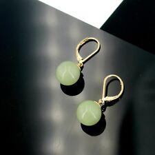 Boucles d'Oreilles Dormeuse Doré Perle Vert  Verre 12mm Jade Imitation EE10