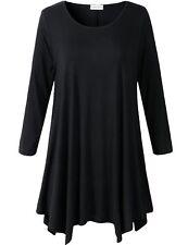 LARACE Women Plus Size 3/4 Sleeve Tunic Tops Loose Basic Shirt Black 3X