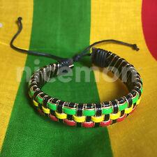 Rasta Braided Reggae Bracelet Wrist Cuff Peace Sign Emblem Jamaica Reggae IRIE