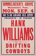 1950 HANK WILLIAMS HIMMELREICH'S GROVE CONCERT POSTER