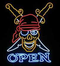 """New Pirates Skull Tattoo Open Neon Light Sign 24""""x20"""" Lamp Poster Real Glass"""
