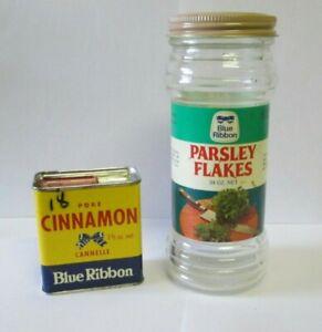 VTG PAPER LABEL GLASS JAR BLUE RIBON PARSLEY AND SPICE TIN BROOKE BOND CANADA
