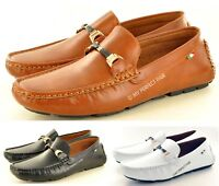 Men's Leather LOOK Loafers Slip on Driving Shoes Available in UK Size 6-11