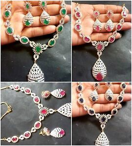 Original Cubic Zirconia Indian CZ AD Ruby Emerald Sapphire Necklace Earrings Set