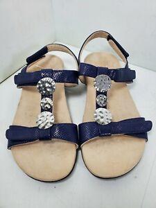 Vionic Farra Lizard Women's Sandals Embellished Size 9 W Navy Blue TVW5182