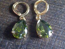 P 02 LARGE green peridot pear drop 18k gold gf hoop+dangle earrings BOXD Plum UK
