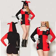 DC Comics Harley Quinn Adult Costume Romper Mask Jester Hat Hood Cosplay Outfit