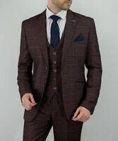 Mens Cavani Check Tweed Wine Peaky Blinders Wedding Tailored Fit 3 Piece Suit
