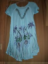 One Sz Dress Cover-Up Embroidery Turquoise Floral CapSleeve  NWT $59.99 L XL 1X