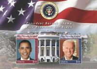 Liberia 2008- President Barack Obama and Joe Biden Stamp souvenir sheet (#2) MNH