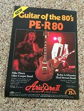 1982 VINTAGE 8X11 PRINT Ad ARIA PRO II GUITAR PE-R80 MIKE PINERA OF ALICE COOPER