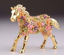 Flower Horse Faberge trinket box hand made by Keren Kopal with Austrian crystal