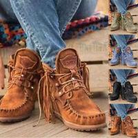 Damen Stiefeletten Schnürstiefel Quaste Cowboystiefel Ankle Boots Stiefel Schuhe