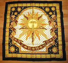 OLMO Silk Twill Scarf Sun Pattern Whimsical Print Excellent Hand Made Italy