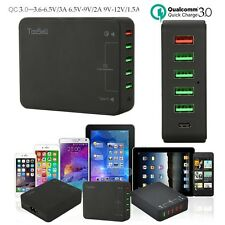 50W 6 Port Multi-port Desktop Type C USB Wall Fast Charger Qualcomm QC 3.0 UL
