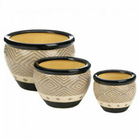 Black Ceramic Diamond Pattern Planter Set , 3 Pieces, Indoor/Outdoor, w/Drain