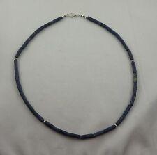 Kette  Halskette aus DUMORTIERIT 4 x 13 mm Walzen Perlen ca. 43,5 cm Edelstein