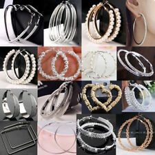 Women Girls Lady Sterling Silver Gold Pld Hoop Crystal Big Large Hoop Earrings