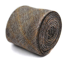 grey and brown check linen tie 8cm by Frederick Thomas FT2012