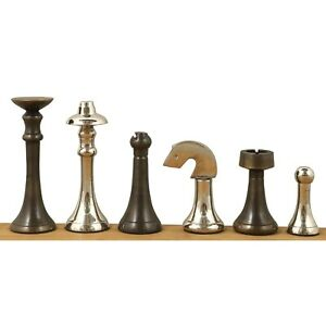 """3.1"""" Contemporary Brass Metal Luxury Chess Pieces Only Set - Silver & Antique"""