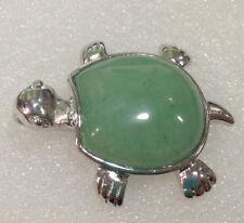 Natural Green Jade Bead Turtle Gemstone Pendant 18KGP JN1035