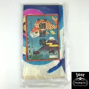 Vintage Hand Painted Koinobori Blue Japanese Paper Carp Kite Gold Eye NEW!!!